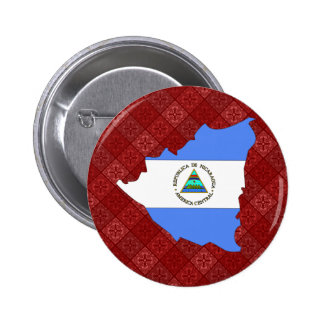 Nicaragua Flag Map full size Pinback Buttons