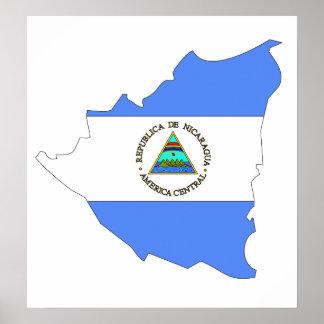 Nicaragua Flag Map full size Poster