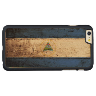 Nicaragua Flag on Old Wood Grain Carved Maple iPhone 6 Plus Slim Case