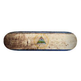 Nicaragua Flag on Old Wood Grain Skateboard