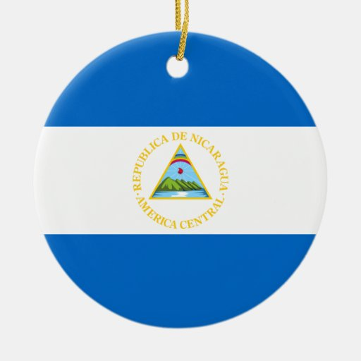 Nicaragua Flag Double-Sided Ceramic Round Christmas Ornament