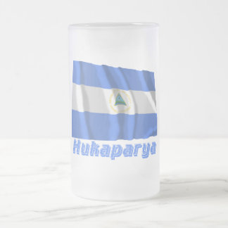 Nicaragua Flag with name in Russian Frosted Glass Beer Mug