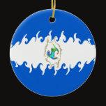Nicaragua Gnarly Flag Ceramic Ornament