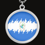Nicaragua Gnarly Flag Silver Plated Necklace