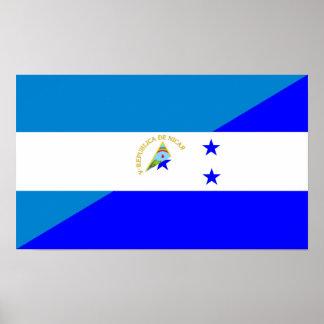 nicaragua honduras flag country half flag symbol poster