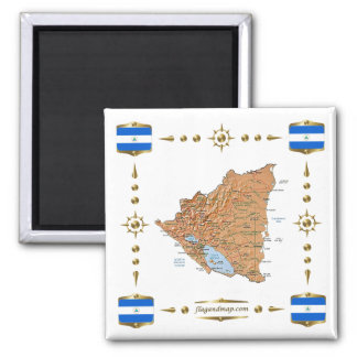 Nicaragua Map + Flags Magnet