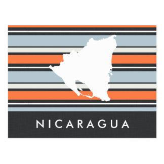 Nicaragua Map: Modern Stripes Postcard