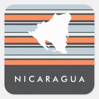 Nicaragua Map: Modern Stripes Square Sticker