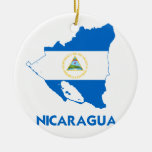 NICARAGUA MAP Double-Sided CERAMIC ROUND CHRISTMAS ORNAMENT