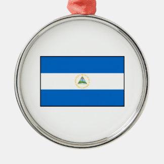Nicaragua – Nicaraguan Flag Round Metal Christmas Ornament