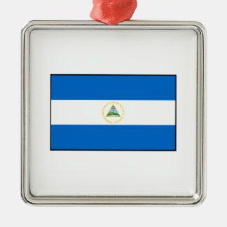 Nicaragua – Nicaraguan Flag Square Metal Christmas Ornament