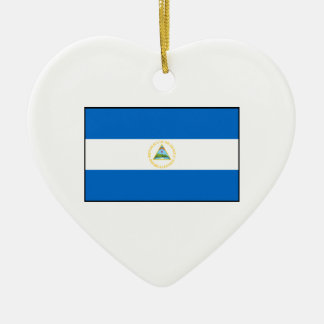 Nicaragua – Nicaraguan Flag Double-Sided Heart Ceramic Christmas Ornament