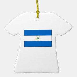 Nicaragua – Nicaraguan Flag Double-Sided T-Shirt Ceramic Christmas Ornament