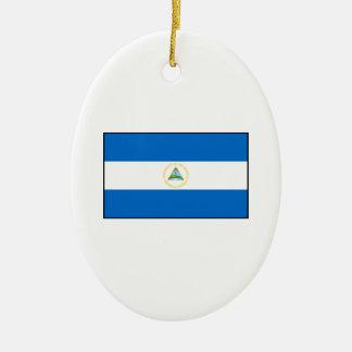 Nicaragua – Nicaraguan Flag Double-Sided Oval Ceramic Christmas Ornament
