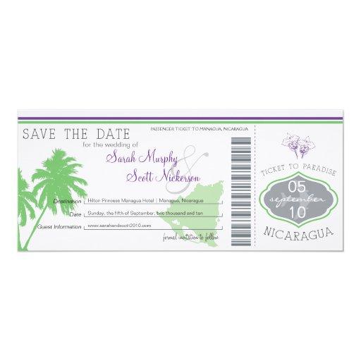 Nicaragua Save the Date Boarding Pass Custom Invitations