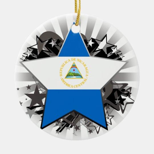 Nicaragua Star Ceramic Ornament
