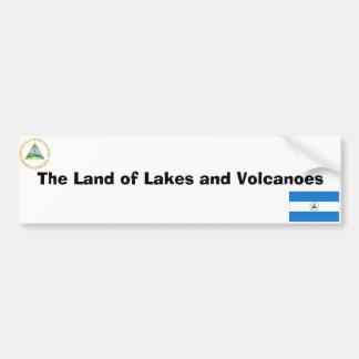 Nicaraguan flag and emblem car bumper sticker