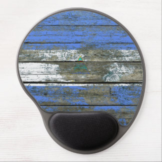 Nicaraguan Flag on Rough Wood Boards Effect Gel Mouse Pad