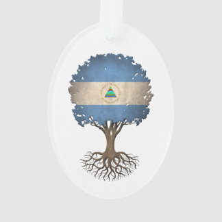 Nicaraguan Flag Tree of Life Customizable Ornament