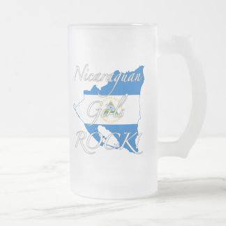Nicaraguan Girls Rock! Frosted Glass Beer Mug