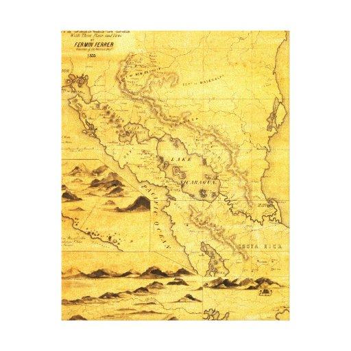 NicaraguaPanoramic MapNicaragua Impresión En Lienzo