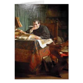 Niccolò Machiavelli in his study, by Stephano Ussi Card