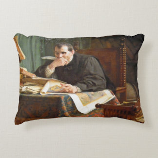 Niccolò Machiavelli in his study, by Stephano Ussi Decorative Pillow