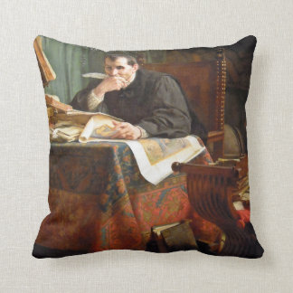 Niccolò Machiavelli in his study, by Stephano Ussi Throw Pillows
