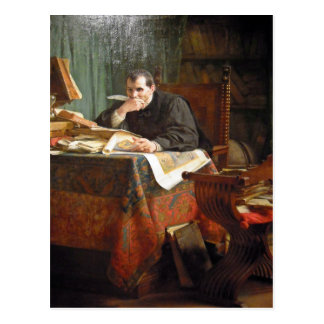 Niccolò Machiavelli in his study, by Stephano Ussi Postcard