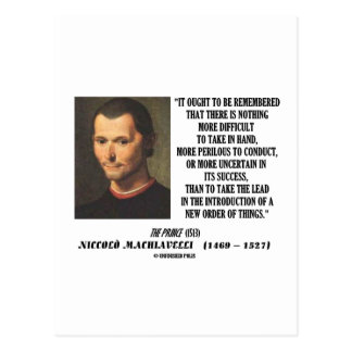 Niccolo Machiavelli New Order Of Things Quote Post Cards