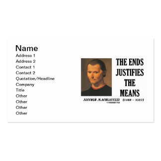 Niccolo Machiavelli The Ends Justifies The Means Double-Sided Standard Business Cards (Pack Of 100)