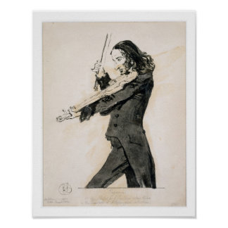 Niccolo Paganini (1782-1840) Playing the Violin, 1 Poster