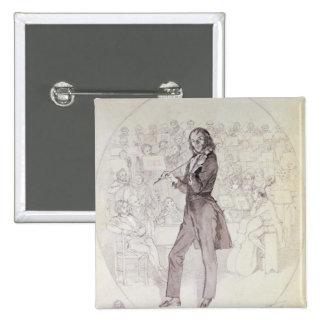 Niccolo Paganini , violinist 2 Inch Square Button