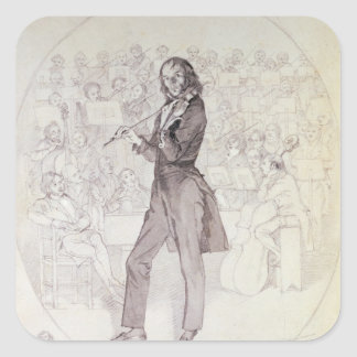 Niccolo Paganini, violinista Pegatina Cuadrada