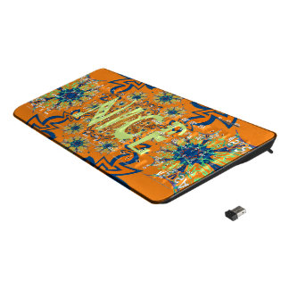 Nice Abstract Mandala Floral Coral teal Colorful Wireless Keyboard