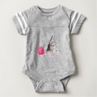 Nice adorable funny kitten low poly baby bodysuit