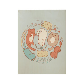 Nice and fluffy cats doodle wood poster