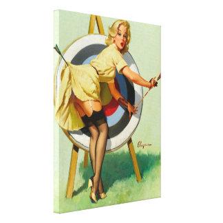Nice Archery Shot - Retro Pin Up Girl Canvas Print