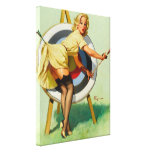 Nice Archery Shot - Retro Pin Up Girl Canvas Print