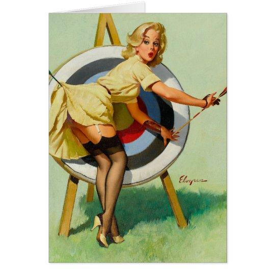 Nice Archery Shot - Retro Pin Up Girl Card