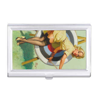 Nice Archery Shot - Retro Pin Up Girl Case For Business Cards