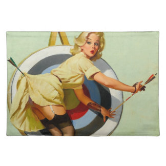 Nice Archery Shot - Retro Pin Up Girl Cloth Placemat