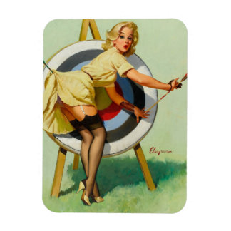 Nice Archery Shot - Retro Pin Up Girl Magnet