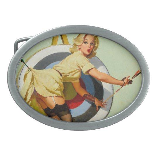 Nice Archery Shot - Retro Pin Up Girl Oval Belt Buckle