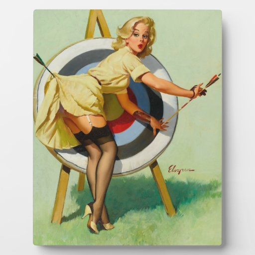Nice Archery Shot - Retro Pin Up Girl Display Plaques
