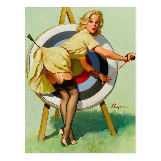 Nice Archery Shot - Retro Pin Up Girl Post Card