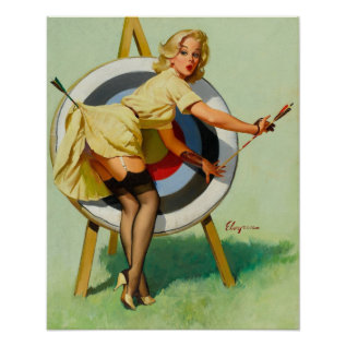 Nice Archery Shot - Retro Pin Up Girl Poster at Zazzle