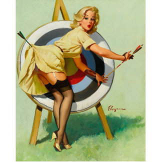 Nice Archery Shot - Retro Pin Up Girl Statuette