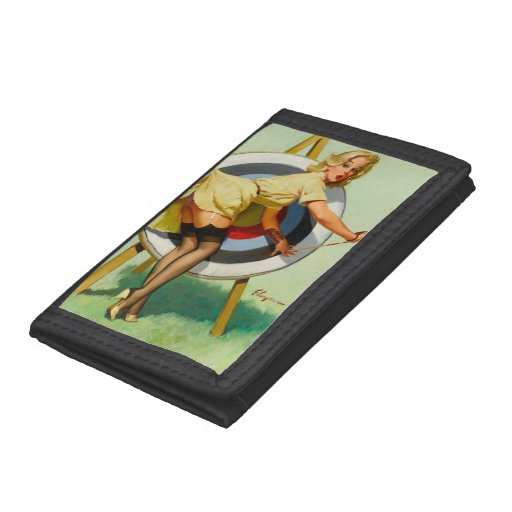 Nice Archery Shot - Retro Pin Up Girl Tri-fold Wallets