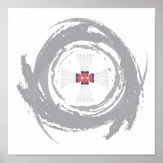 Nice Badminton Circular Grunge Poster